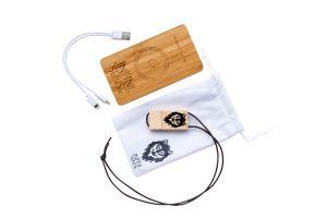 Batterie externe sans fil (Qi) 6000mAh en bambou naturel