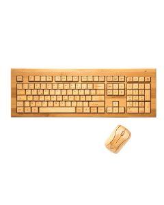 Clavier AZERTY sans fil en bambou et souris offerte