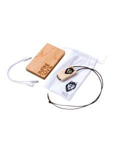 Batterie externe 6000mAh en bois de merisier naturel